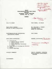 Agenda, Telecommunications Task Force Meeting, NAACP,  May 20, 1994