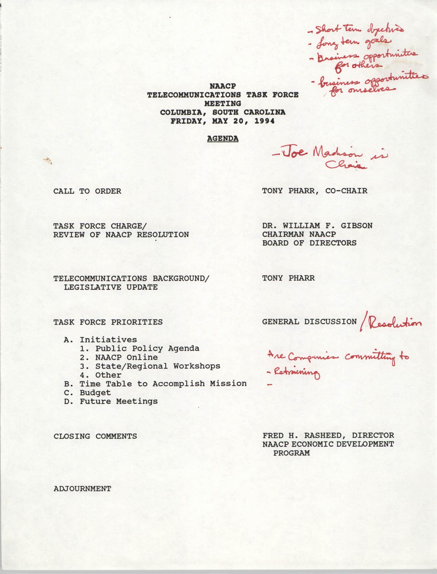 Agenda, Telecommunications Task Force Meeting, NAACP,  May 20, 1994