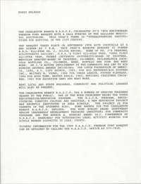Press Release, 74th Anniversary, Charleston Branch of the NAACP, 1990
