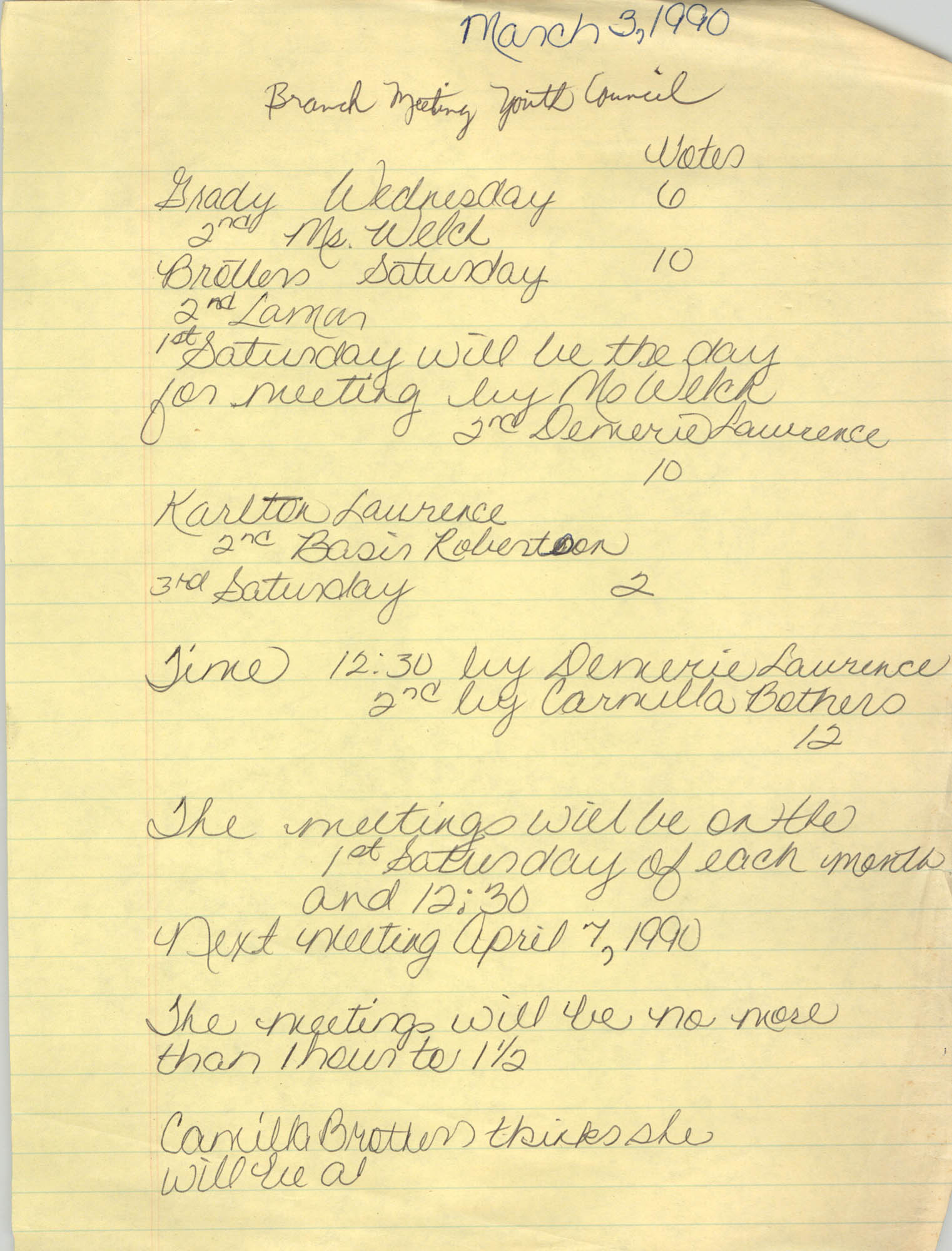 Handwritten Notes, Youth Council, Branch Meeting, March 3, 1990