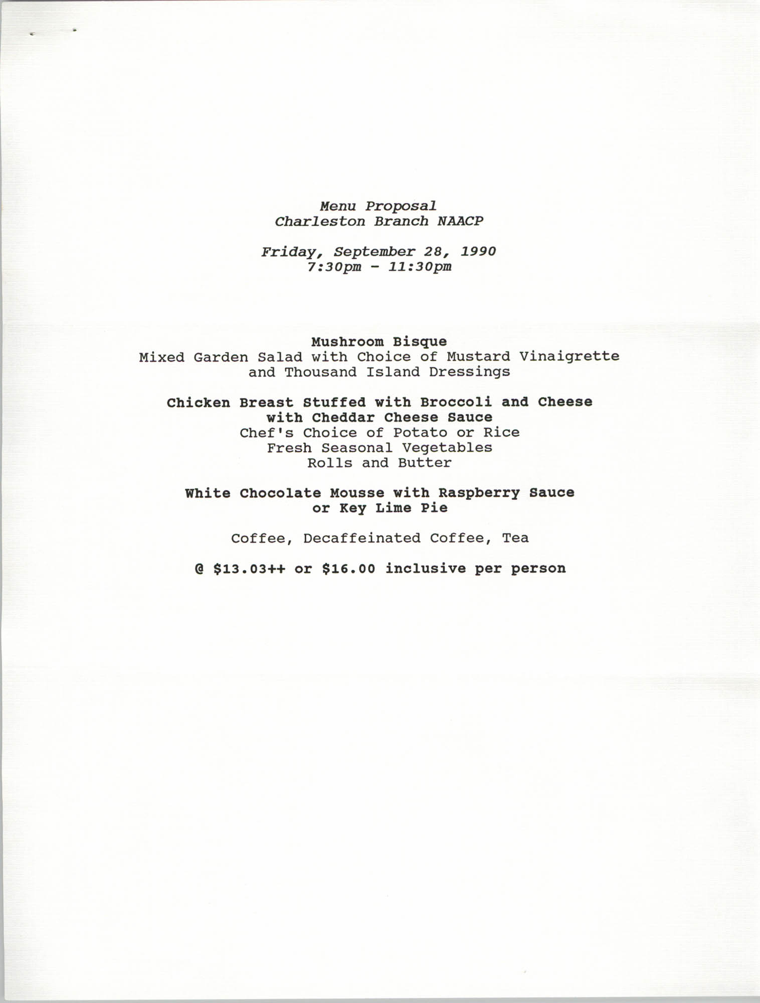 Menu Proposal, Charleston Branch of the NAACP, Freedom Fund Banquet