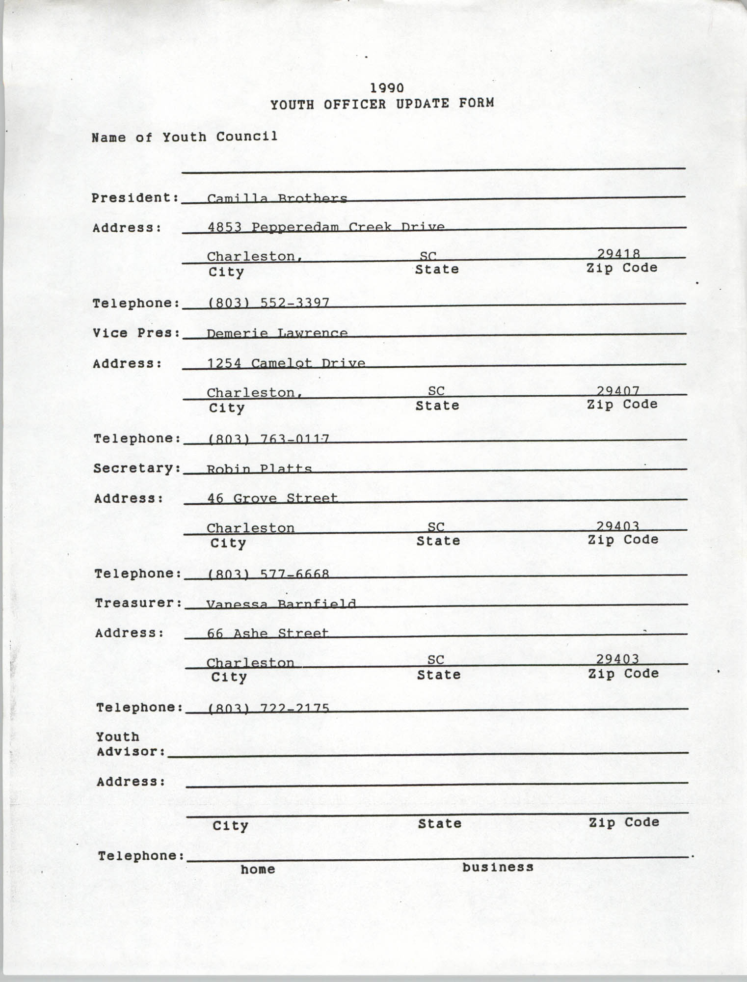 Youth Officer Update Form, 1990