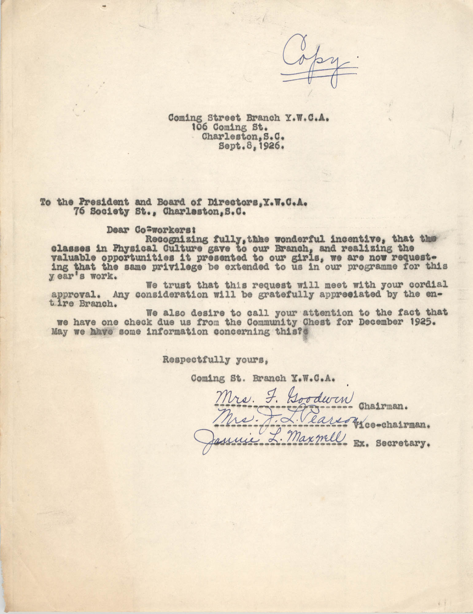 Correspondence from Felicia Goodwin, J. L. Pearson, and Jannie L. Maxwell to President and Board of Y.W.C.A., September 8, 1926