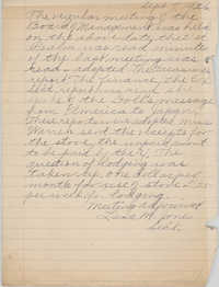 Minutes to the Board of Management, Coming Street Y.W.C.A., September 7, 1926