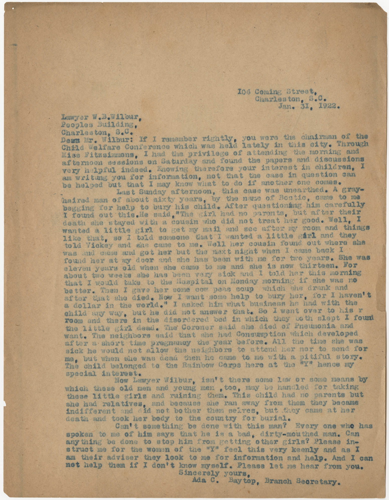 Letter from Ada C. Baytop to W. B. Wilbur, January 31, 1922