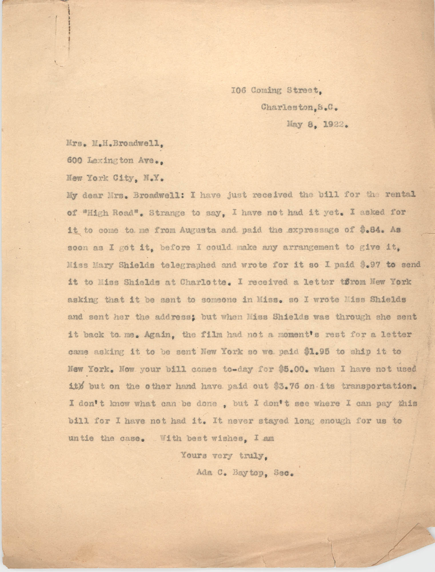 Letter from Ada C. Baytop to M. H. Broadwell, May 8, 1922