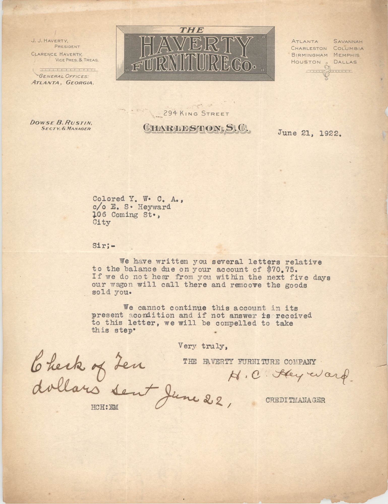 Letter from H. C. Heyward to Coming Street Y.W.C.A., June 21, 1922