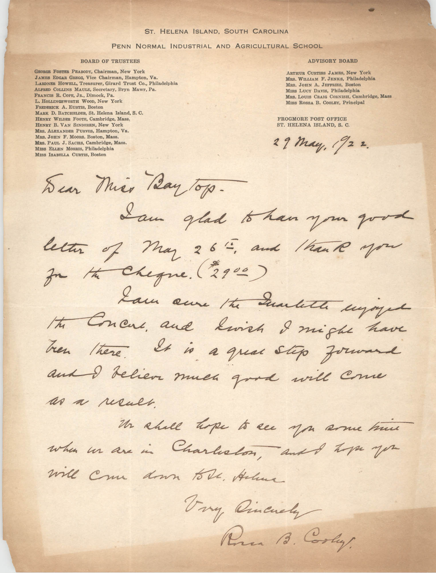 Letter from Rossa B. Cooley to Ada C. Baytop, May 29, 1922