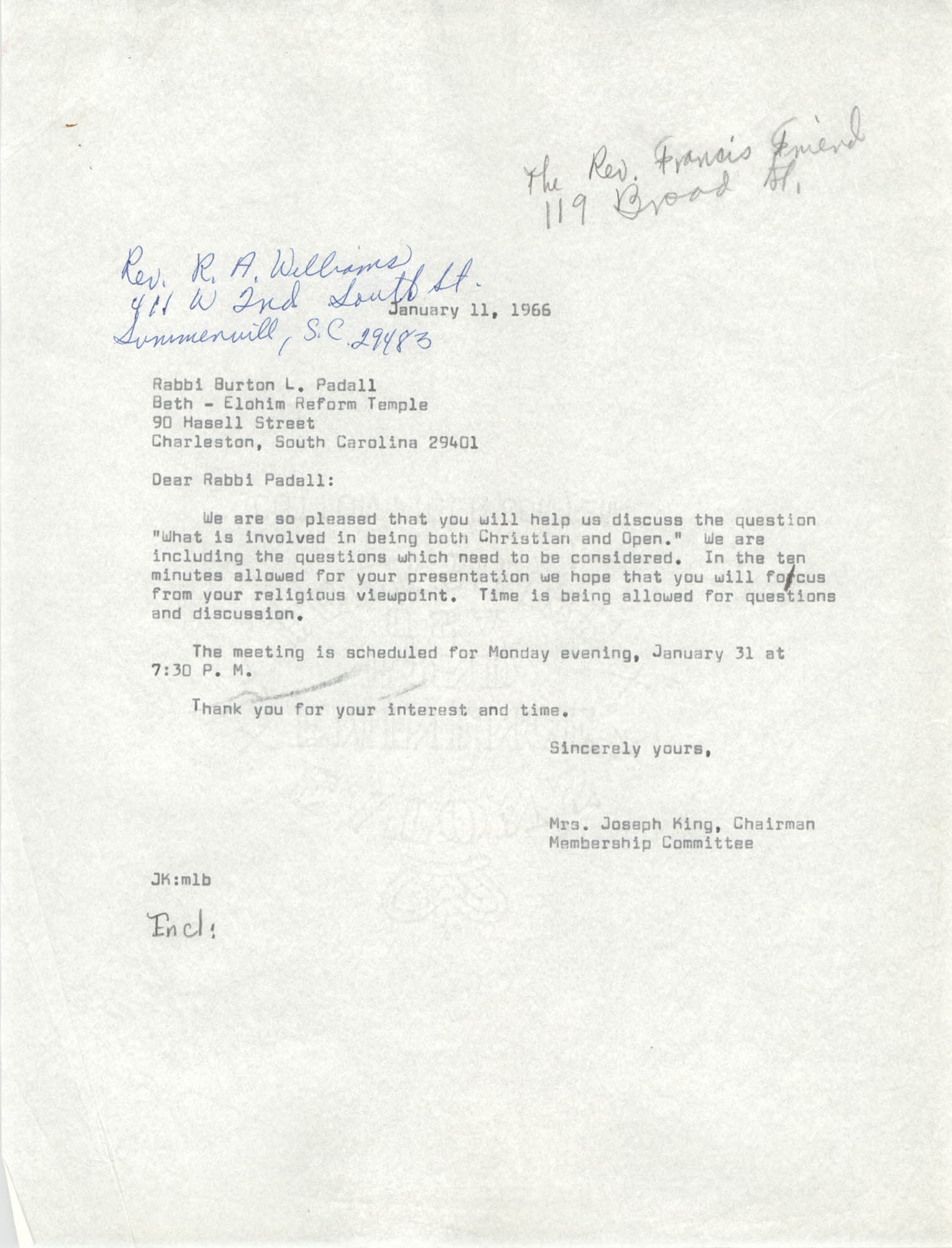 Letter from Mrs. Joseph King to Burton L. Padall, January 11, 1966
