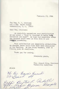 Letter from Mrs. Joseph King to R. A. Williams, February 17, 1966