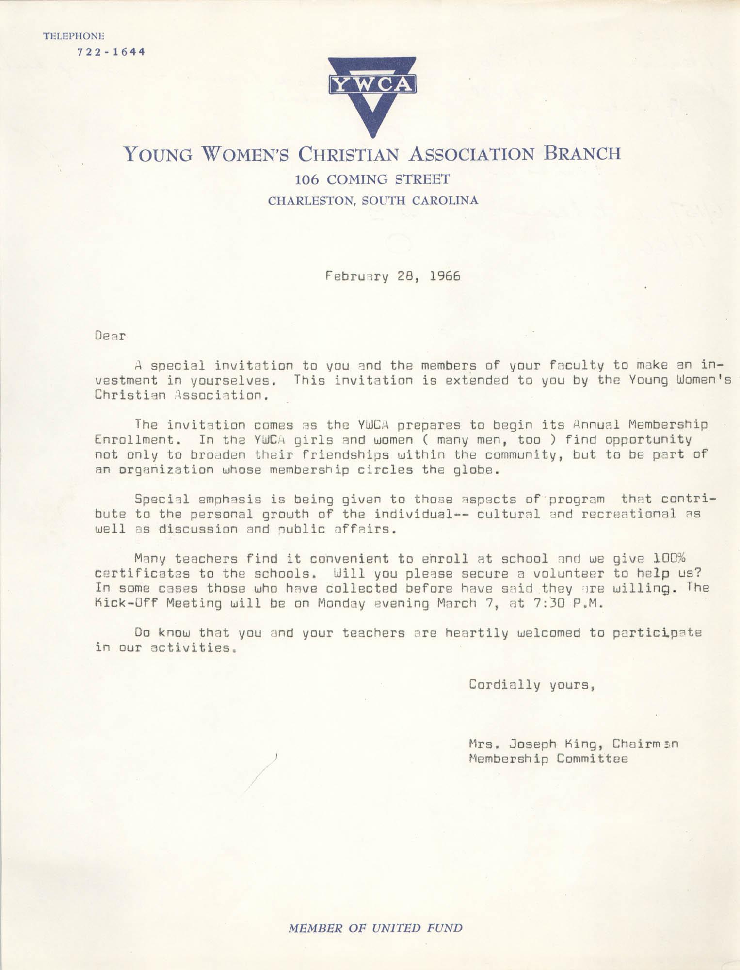 Letter from Mrs. Joseph King, February 28, 1966