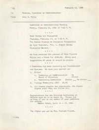 Coming Street Y.W.C.A. Memorandum, February 16, 1966