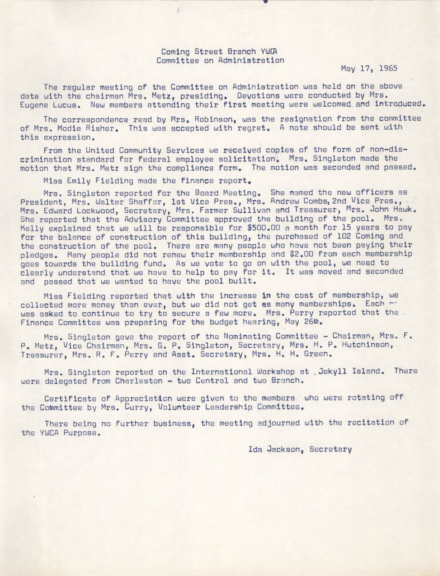 Minutes to the Committee on Administration, Coming Street Y.W.C.A., May 17, 1965