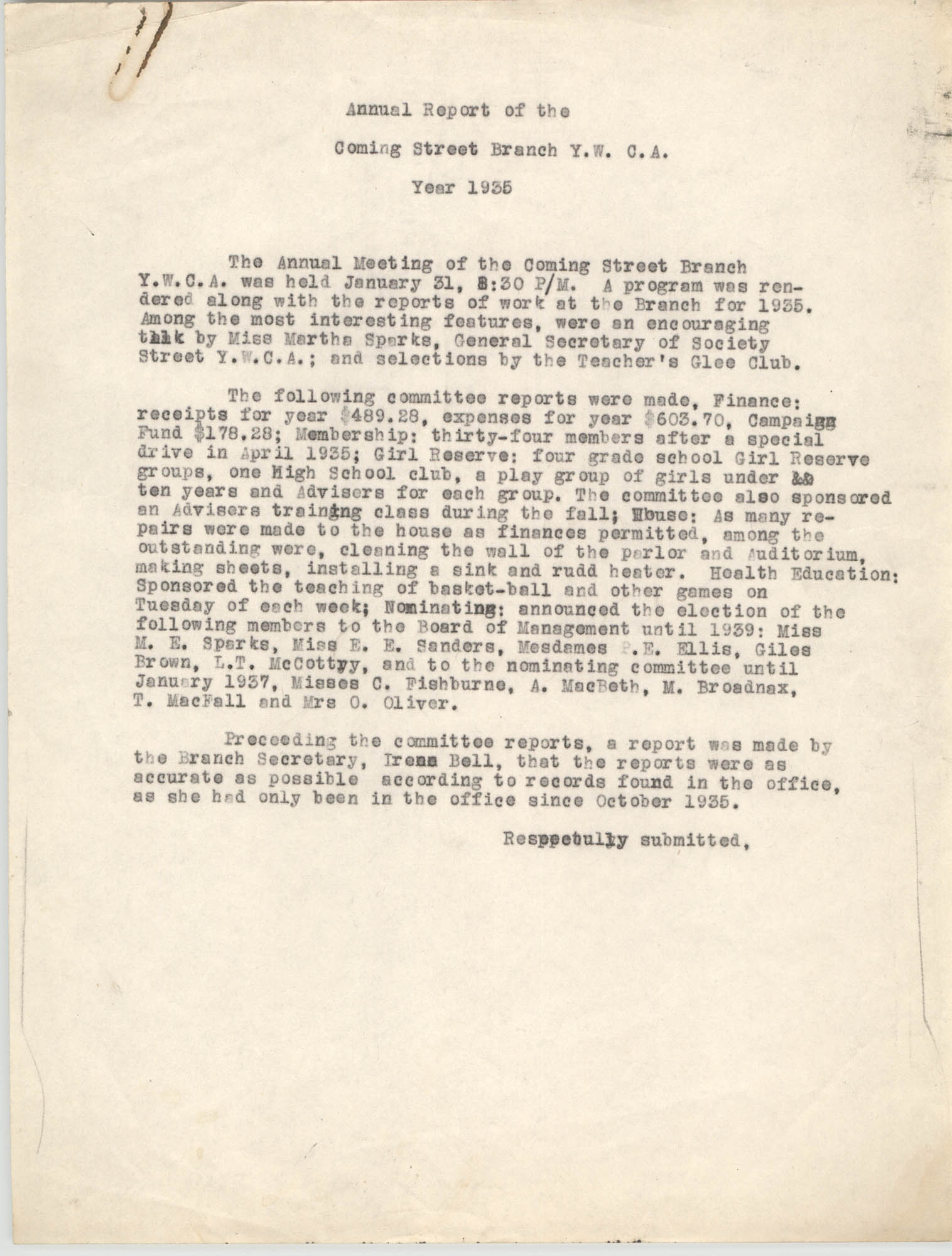Coming Street Y.W.C.A. Annual Report for 1935