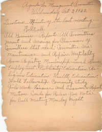 Agenda for Management Committee, Coming Street Y.W.C.A., October 3, 1923