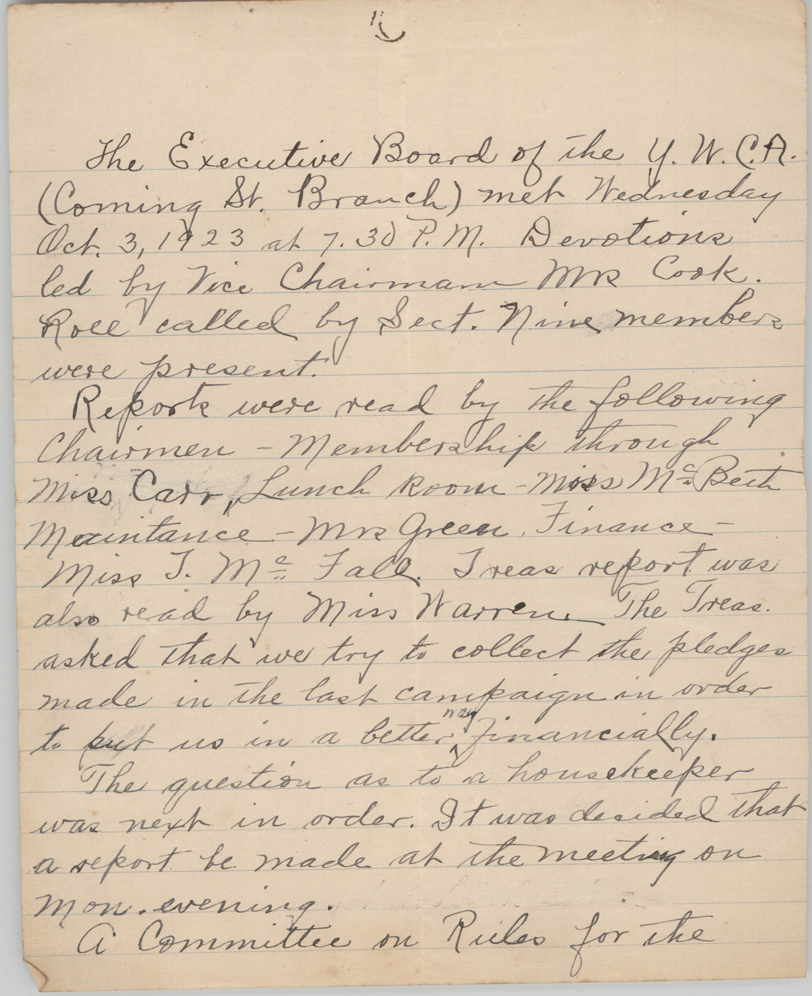 Minutes to the Executive Board of the Coming Street Y.W.C.A., October 3, 1923