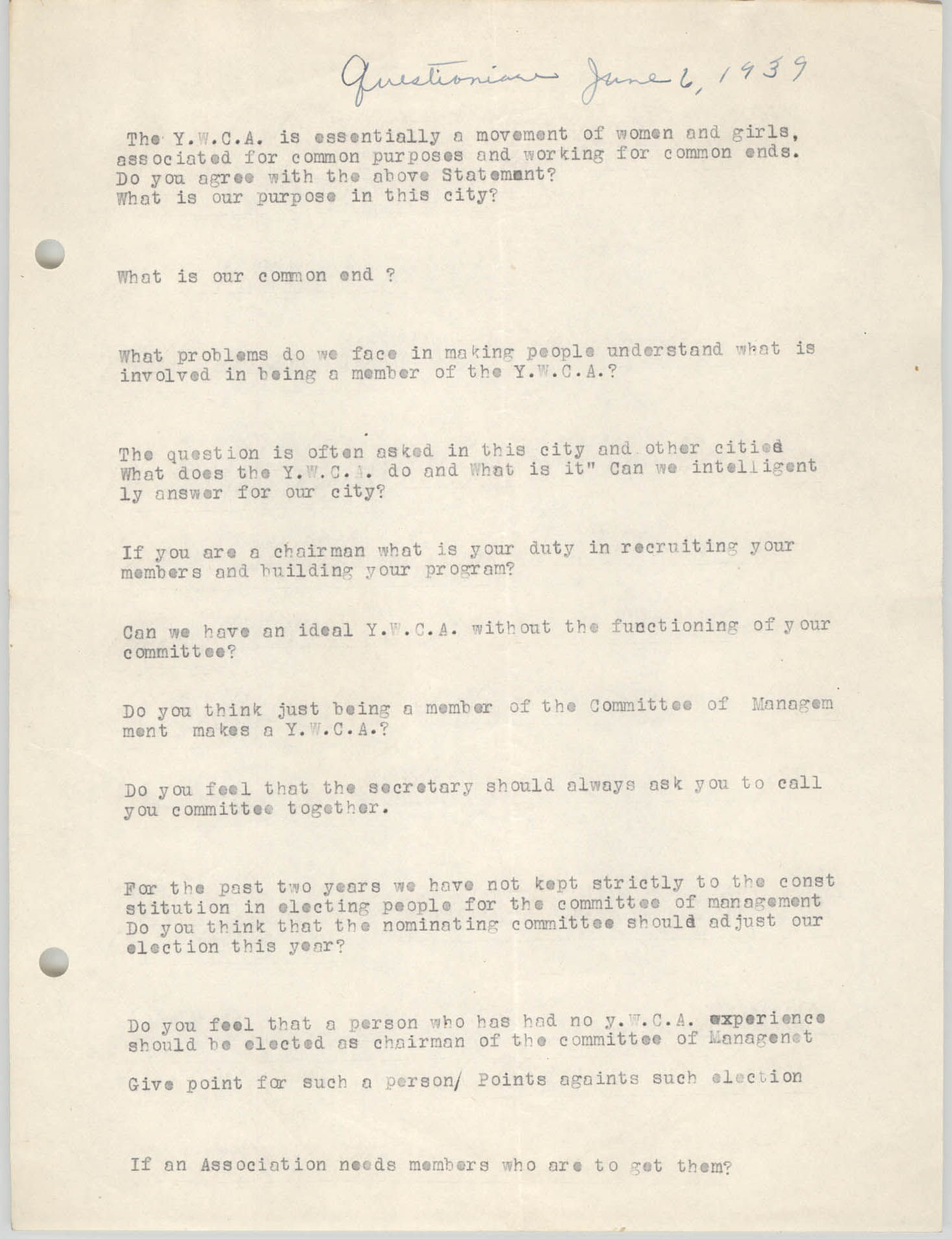 Questionnaire for the Coming Street Y.W.C.A., June 6, 1939