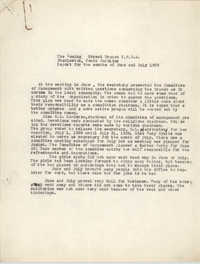 Monthly Reports for the Coming Street Y.W.C.A., June and July 1939
