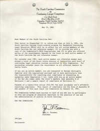 Memorandum, South Carolina Commission on Continuing Lawyer Competence, John P. Freeman, May 15, 1981
