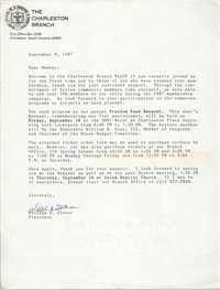 Letter from William A. Glover to a Member, Charleston Branch of the NAACP, September 8, 1987