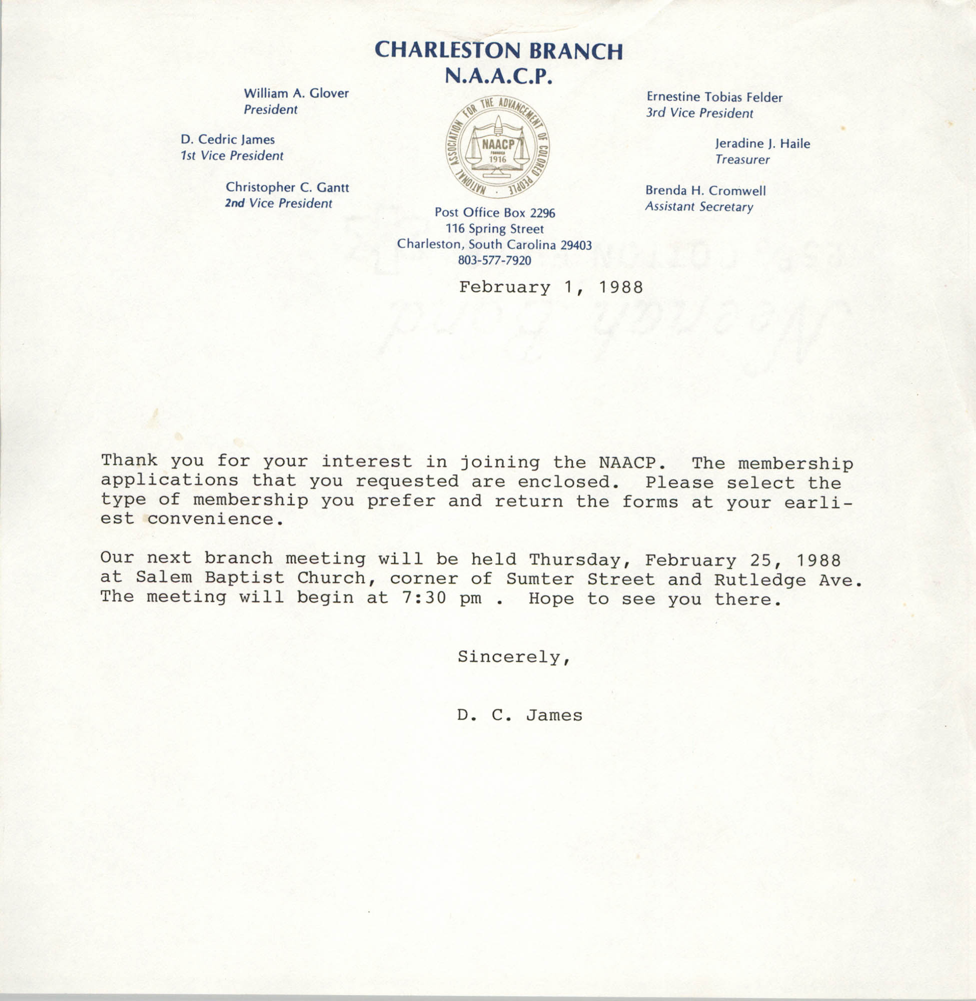 Letter from Dwight C. James, template, February 1, 1988