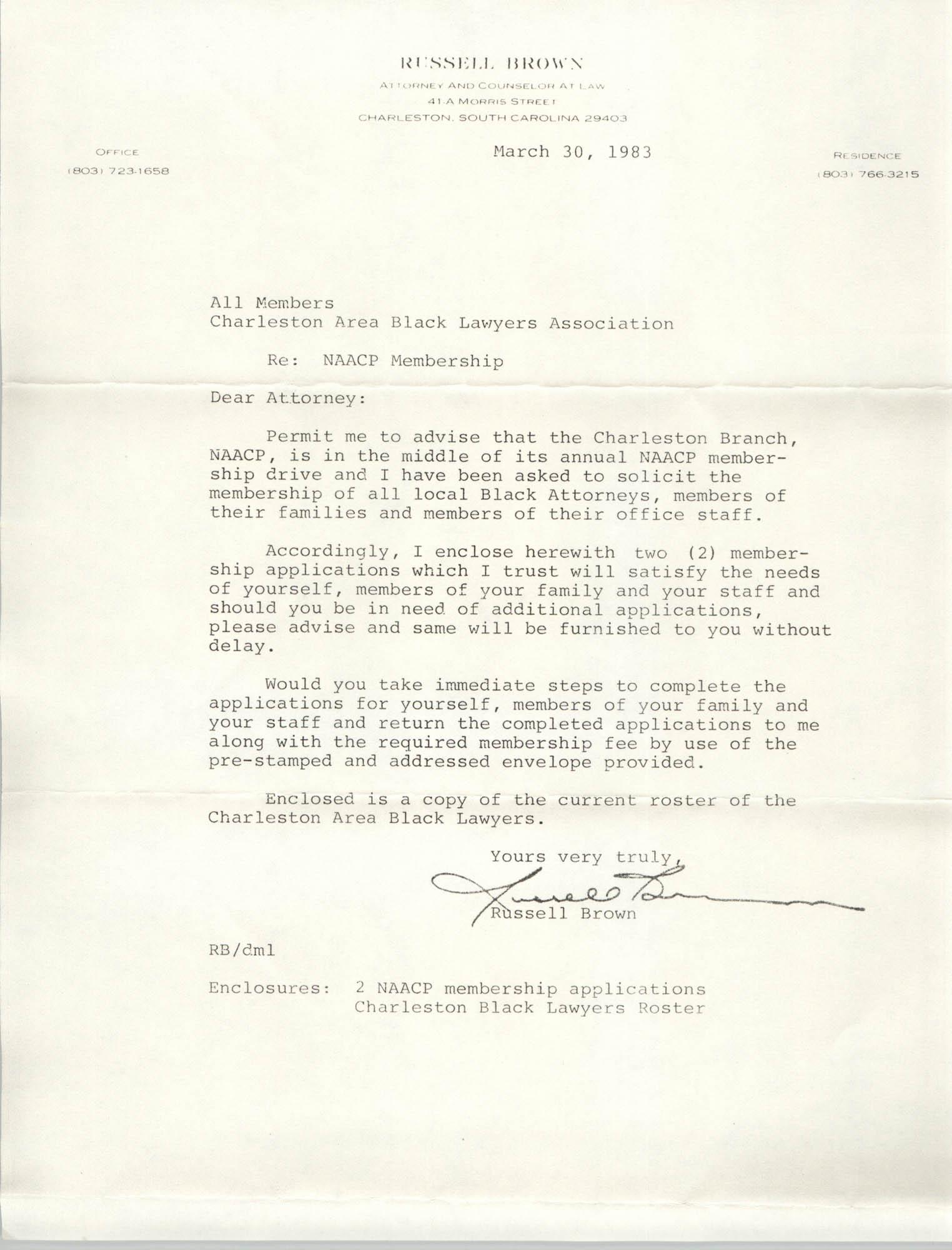 Memorandum, Russell Brown, March 30, 1983