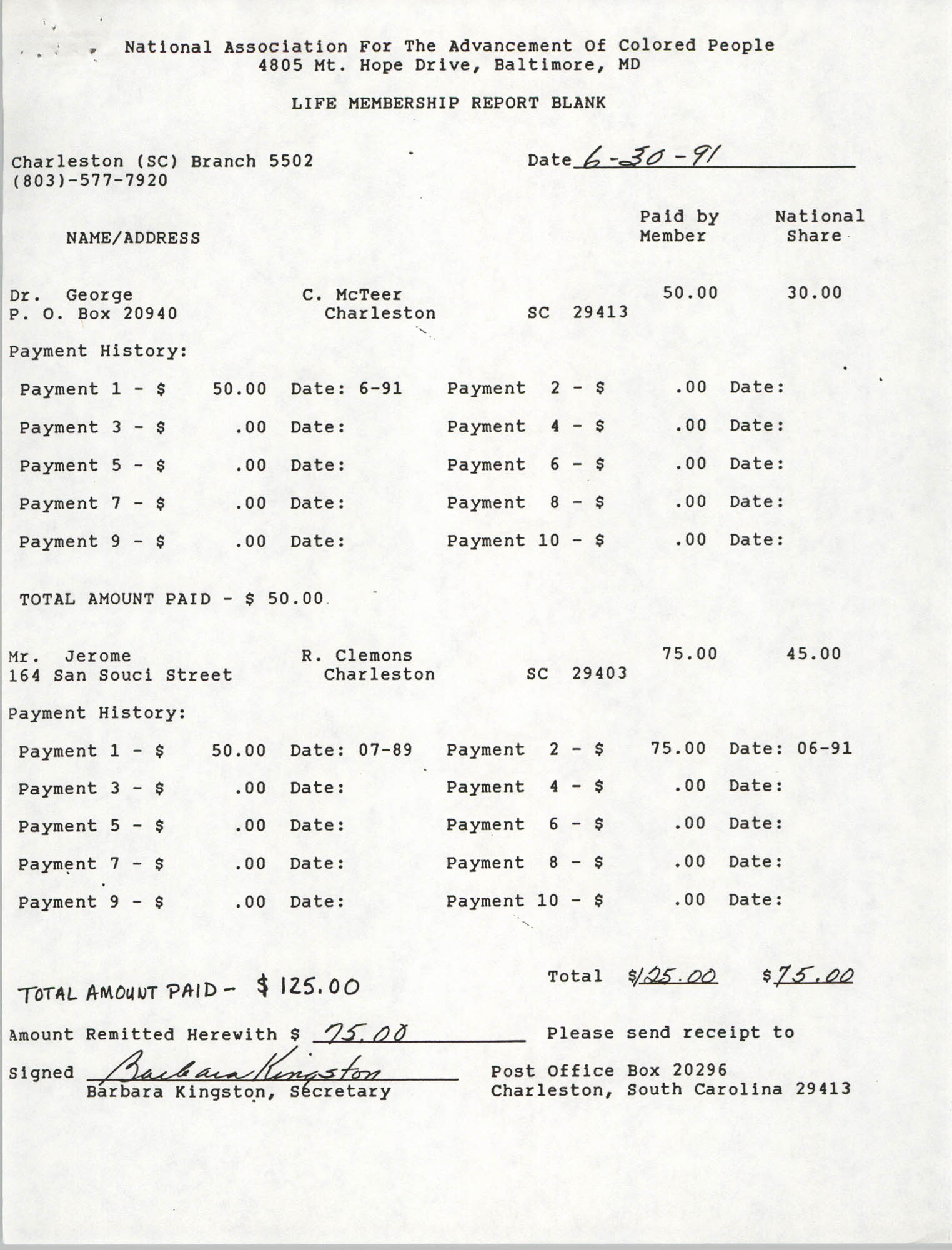 Life Membership Report Blank, Charleston Branch of the NAACP, Barbara Kingston, June 30, 1991