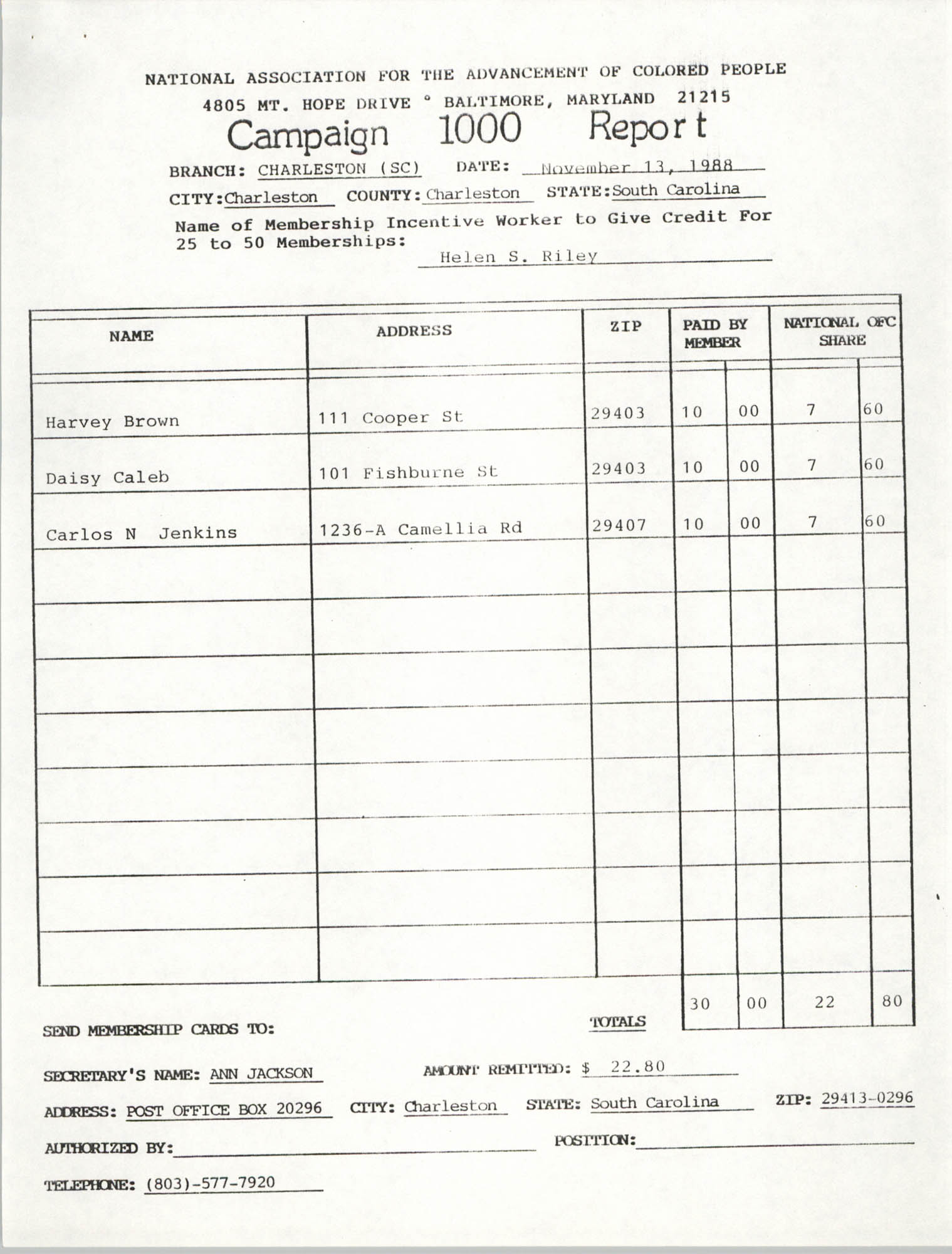 Campaign 1000 Report, Helen S. Riley, Charleston Branch of the NAACP, November 13, 1988
