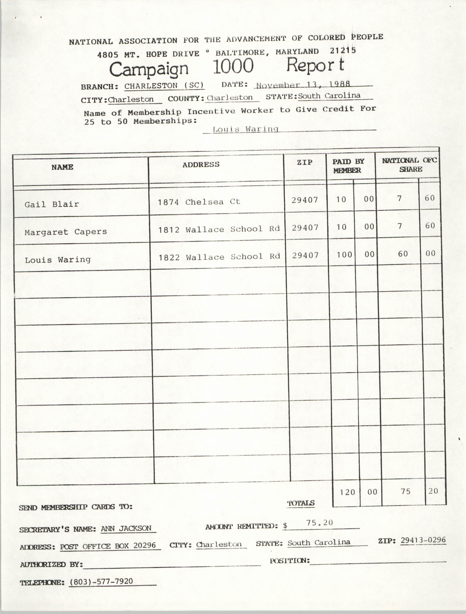 Campaign 1000 Report, Louis Waring, Charleston Branch of the NAACP, November 13, 1988