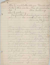 Minutes to the Board of Management, Coming Street Y.W.C.A., November 27, 1927 and January 6, 1928