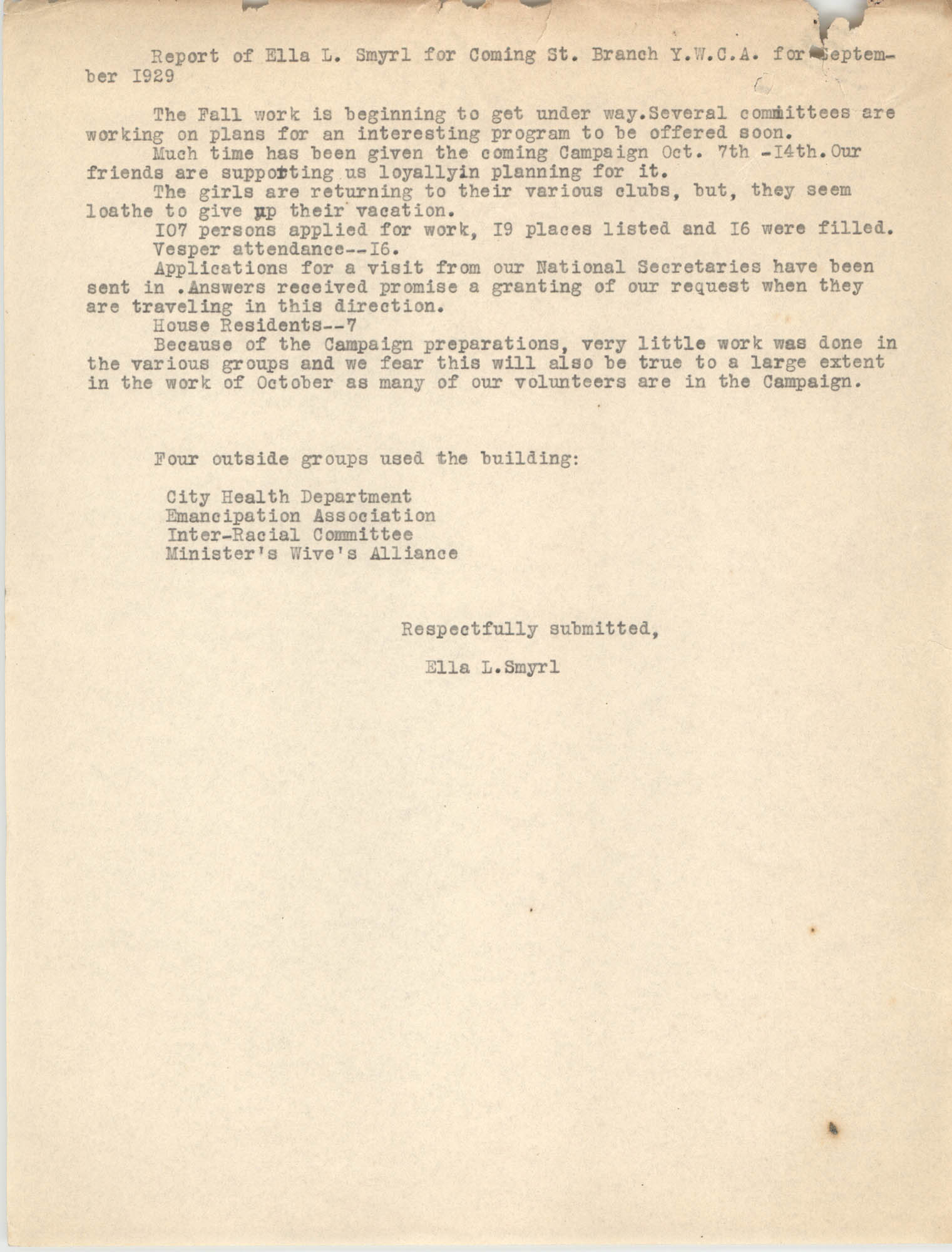 Monthly Report for the Coming Street Y.W.C.A., September 1929