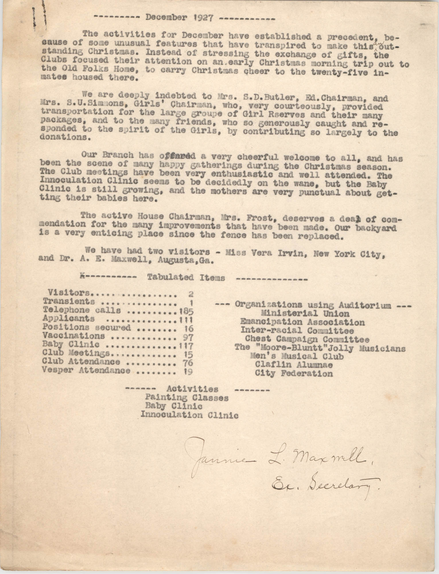 Monthly Report for the Coming Street Y.W.C.A., December 1927