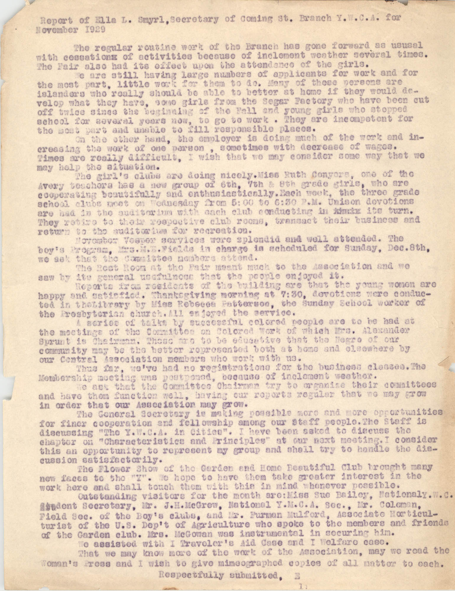 Monthly Report for the Coming Street Y.W.C.A., November 1929