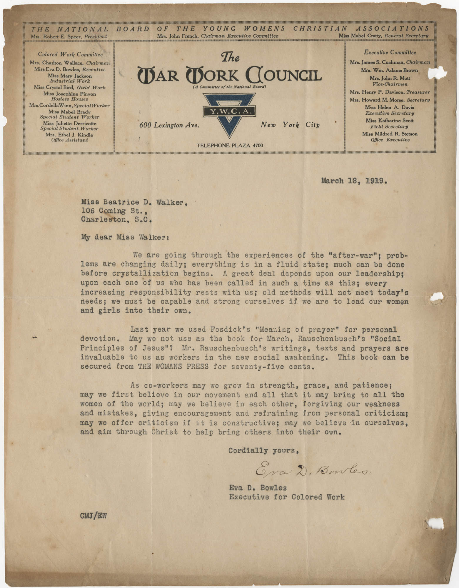 Letter from Eva D. Bowles to Beatrice D. Walker, March 18, 1919