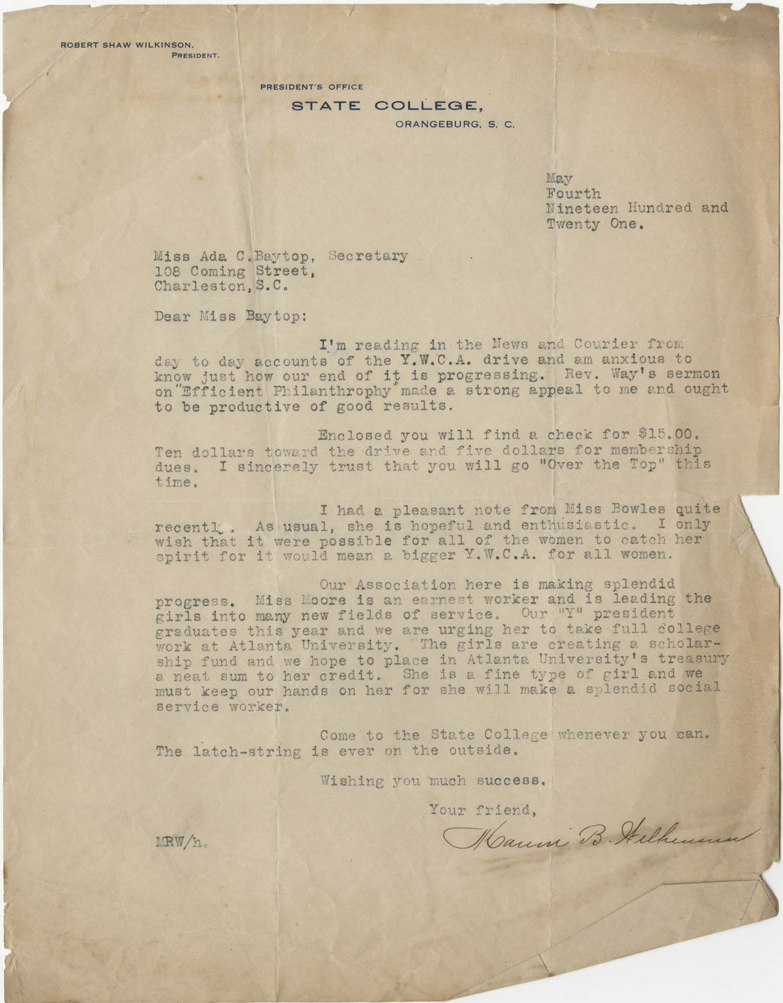 Letter from Robert Shaw Wilkinson to Ada C. Baytop, May 4, 1921