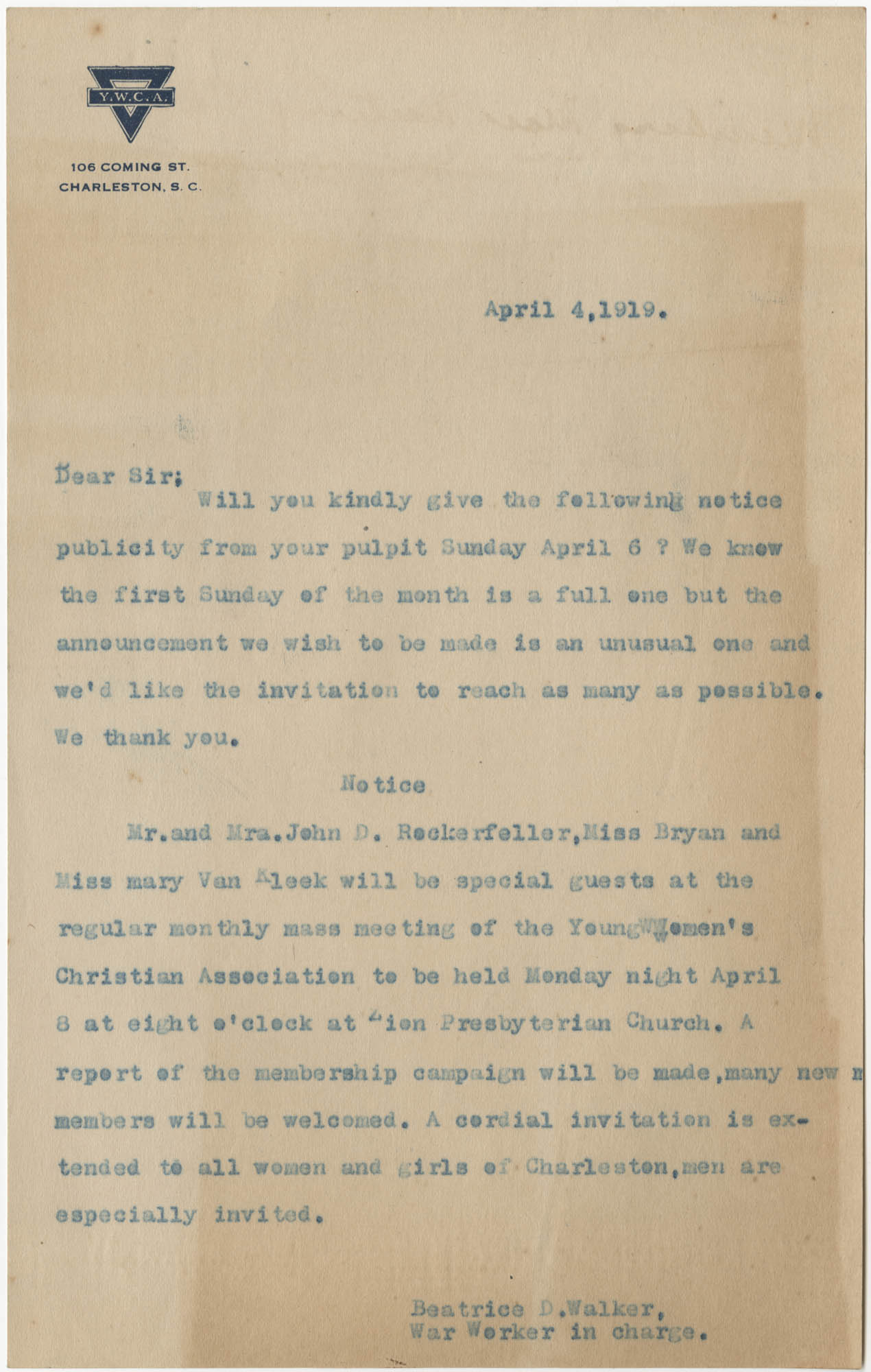 Letter from Beatrice D. Walker, April 4, 1919