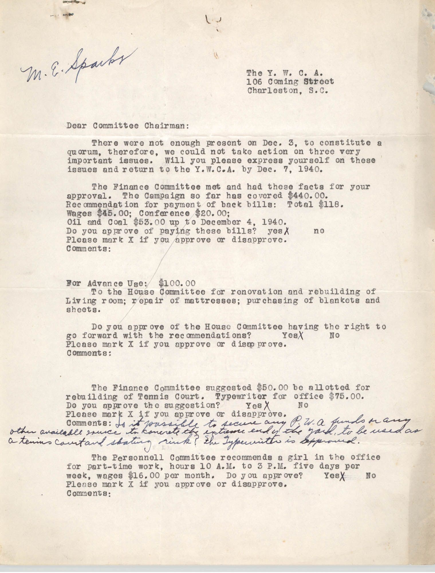 Letter from Daisy Frost and M. L. Harrinton to Committee Chairman of the Coming Street Y.W.C.A.