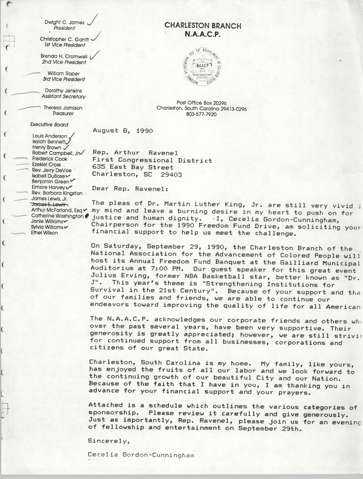 Letter from Cecilia Gordon-Cunningham to Arthur Ravenel, August 8, 1990