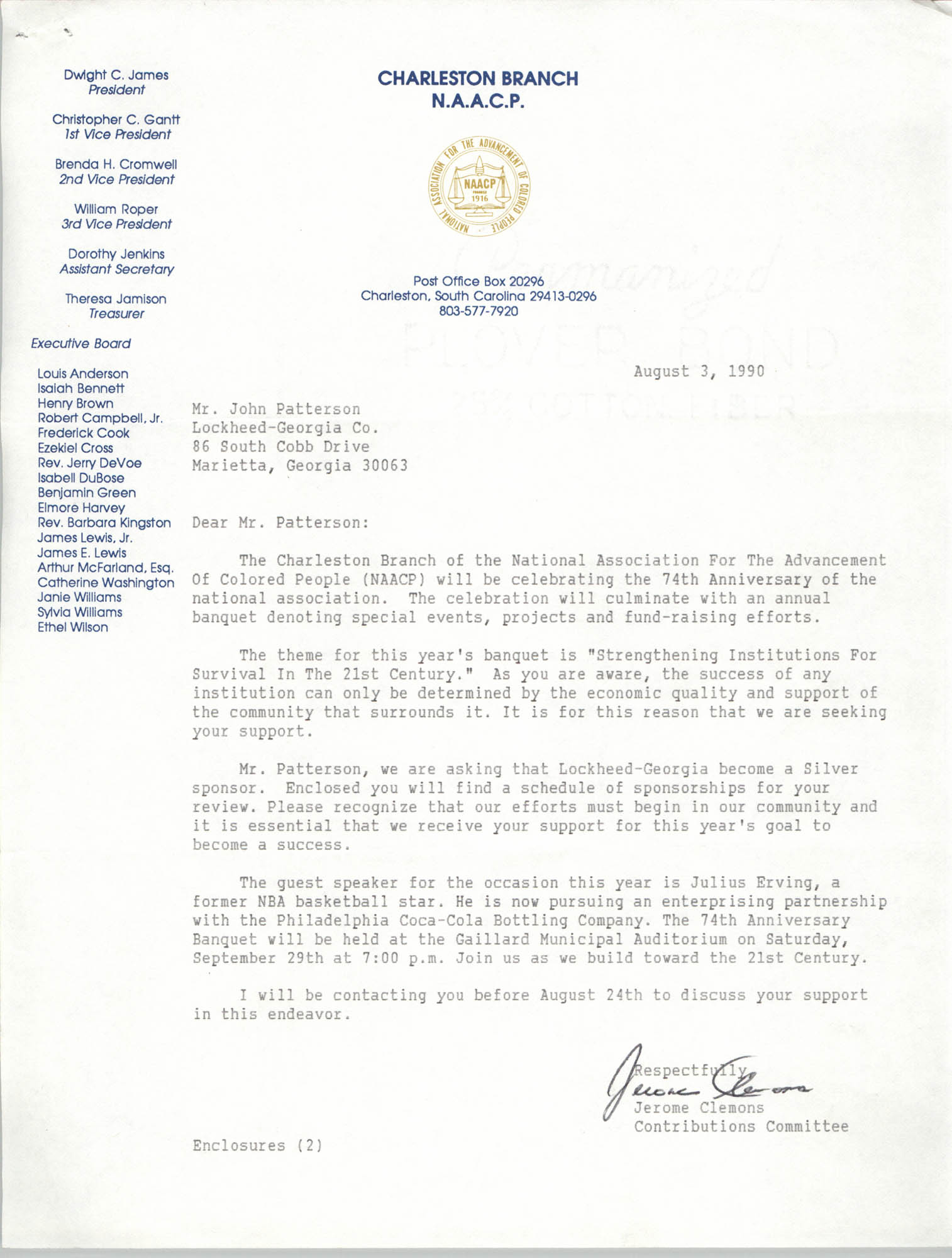 Letter from Jerome Clemons to John Patterson, August 3, 1990