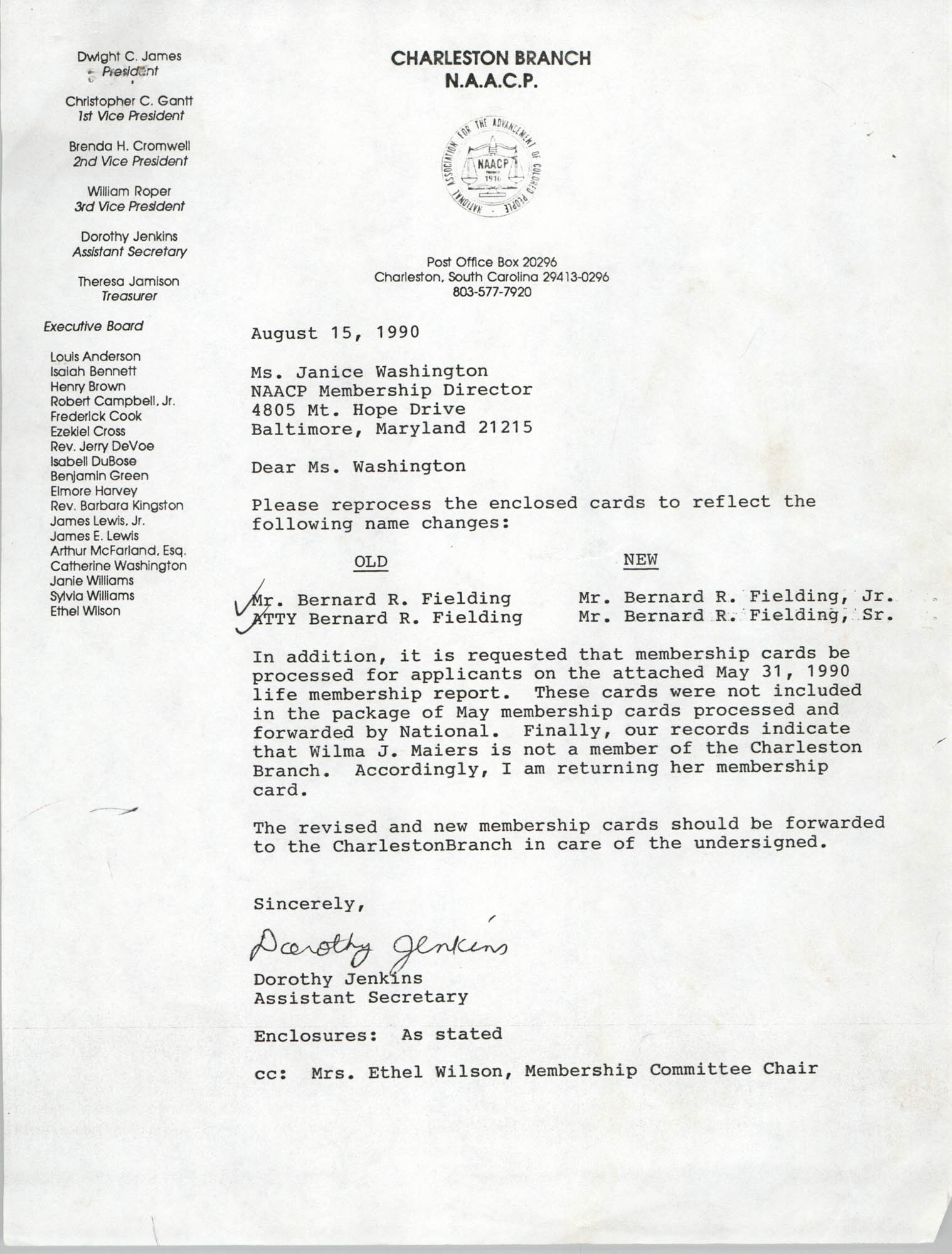 Letter from Dorothy Jenkins to Janice Washington, NAACP, August 15, 1990