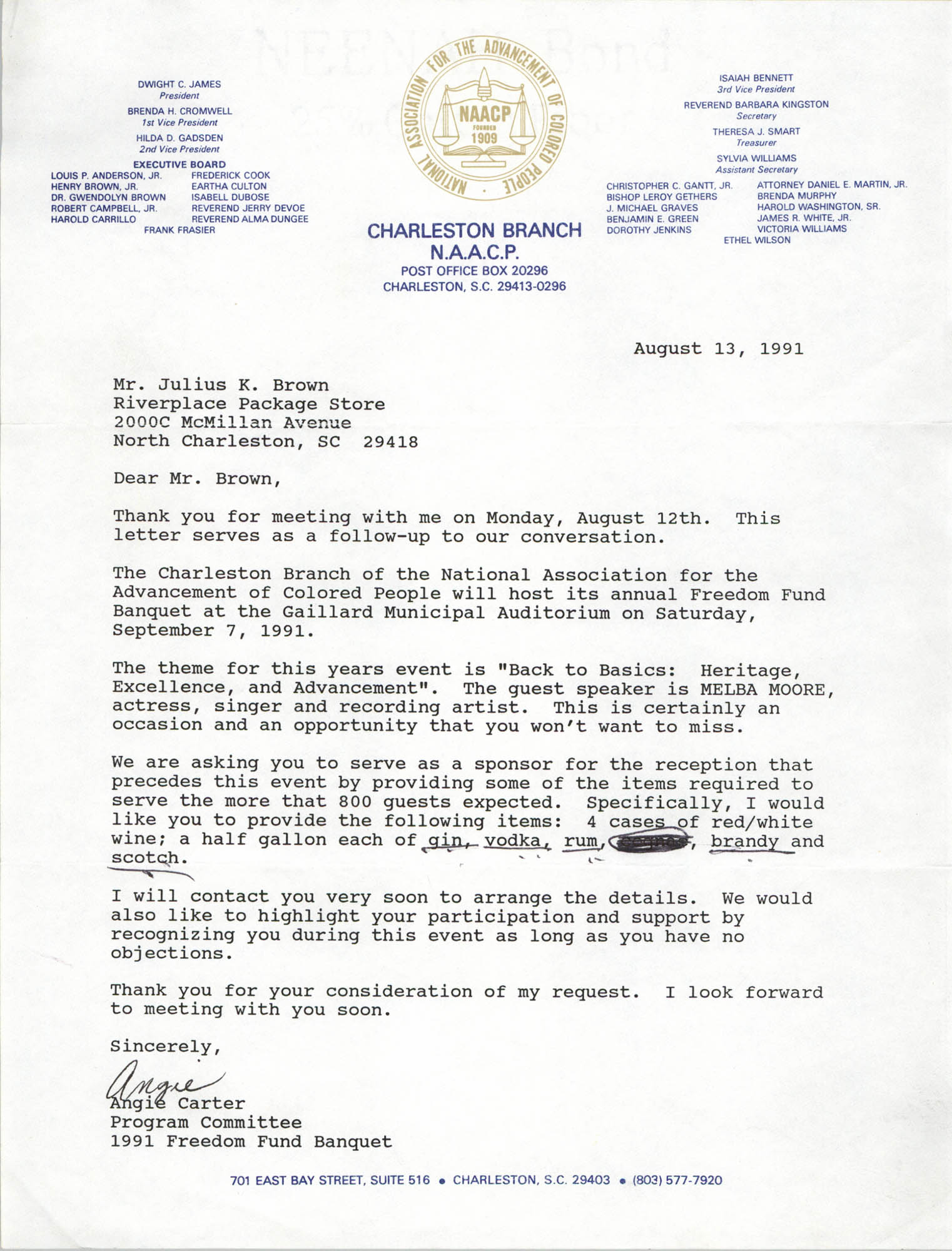 Letter from Angie Carter to Julius K. Brown, August 13, 1991