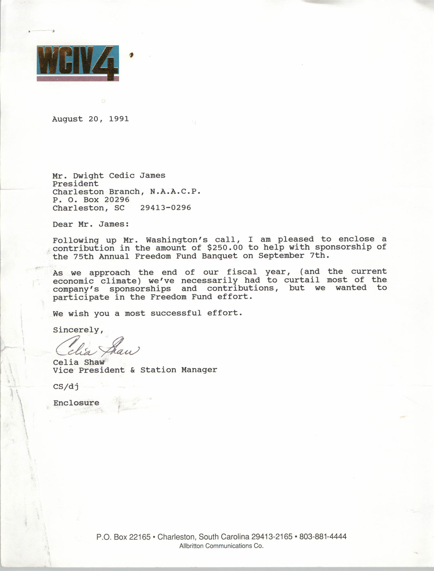 Letter from Celia Shaw to Dwight Cedric James, August 20, 1991