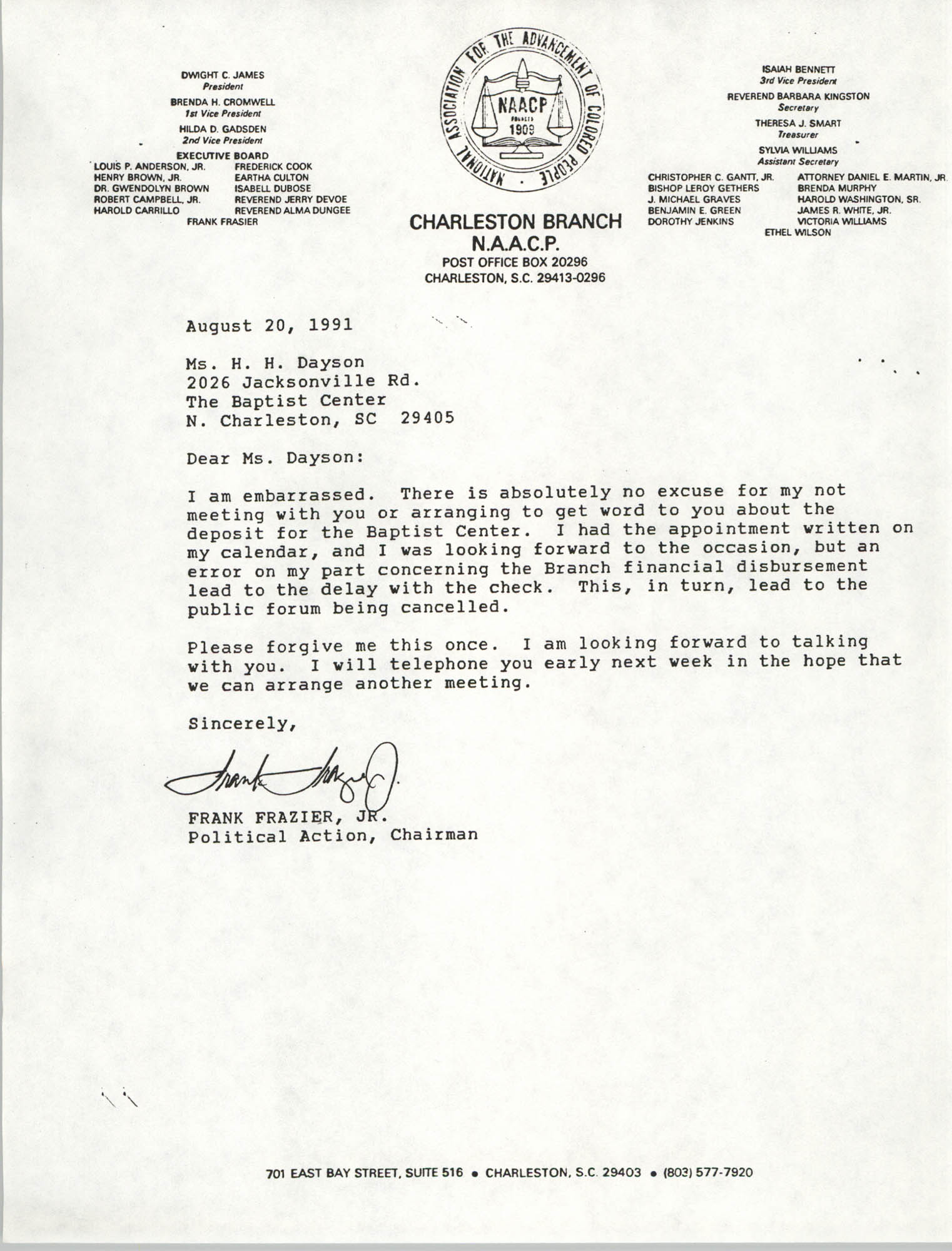 Letter from Frank Frazier Jr. to H.H. Dayson, August 20, 1991