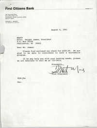 Letter from Dwight L. Moody to Dwight James, August 6, 1991