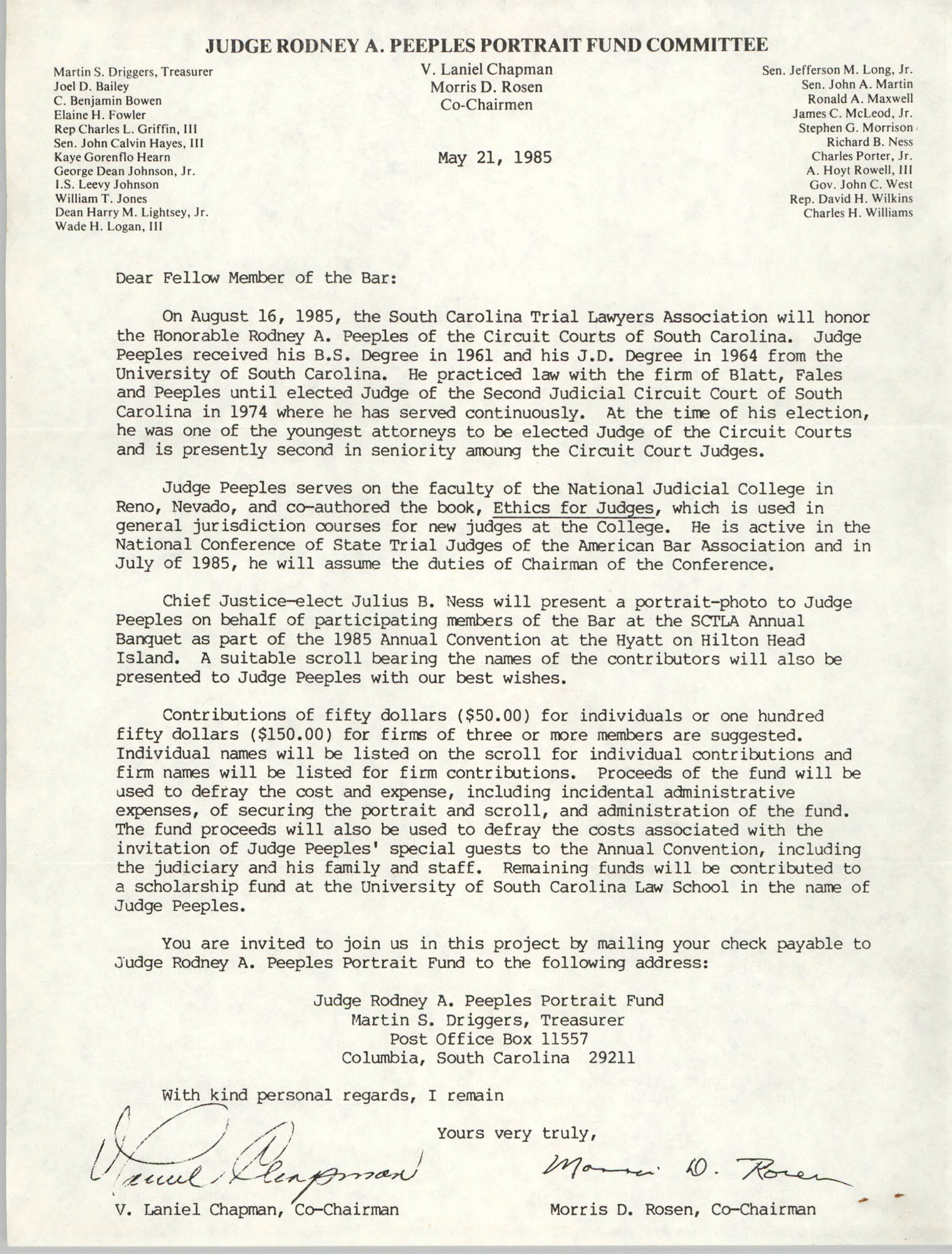 Letter from V. Laniel Chapman and Morris D. Rosen, May 21, 1985