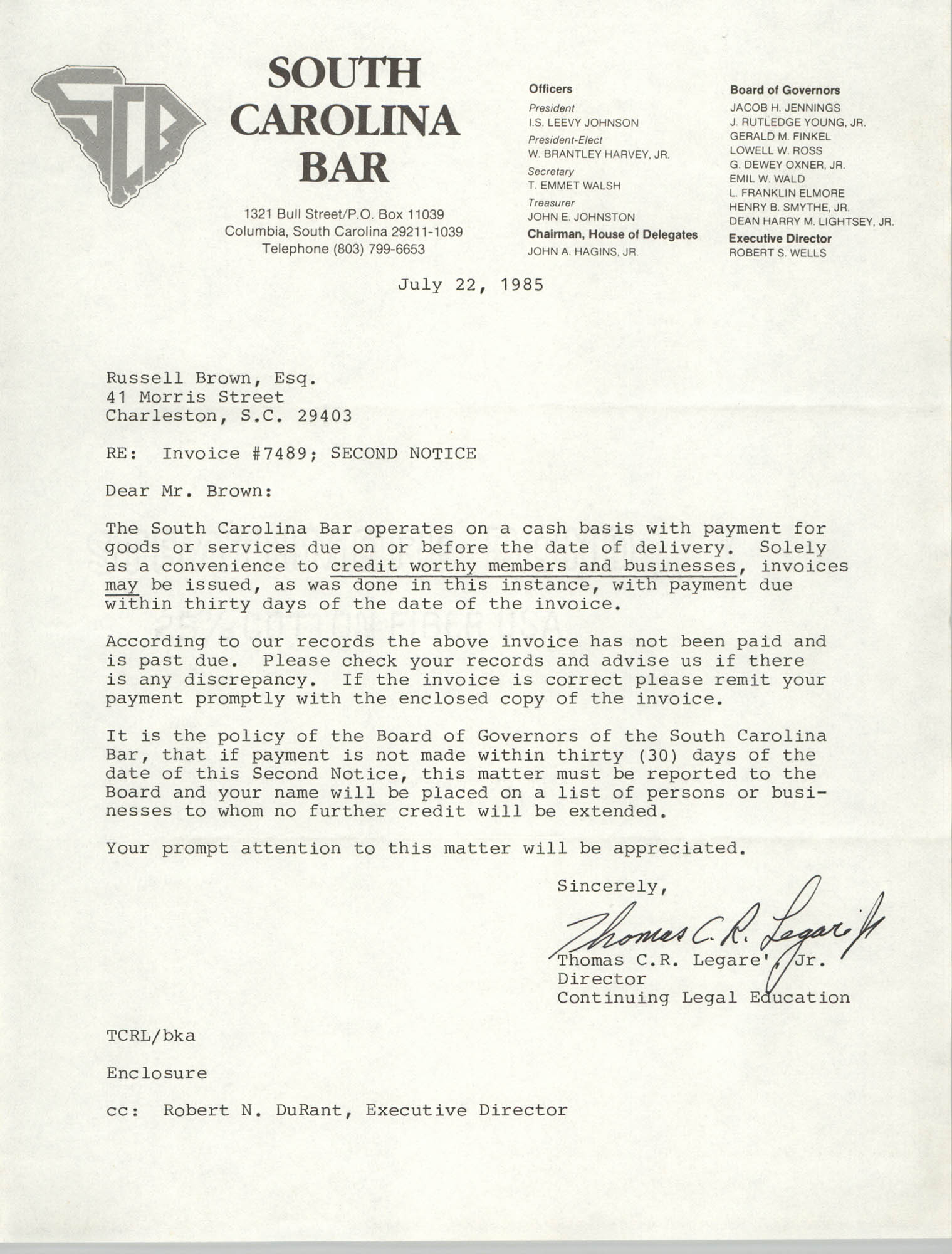 Letter from Thomas C.R. Legare Jr. to Russell Brown, July 22, 1985