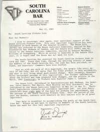 South Carolina Bar, Jacob H. Jennings, Memorandum, May 13, 1985