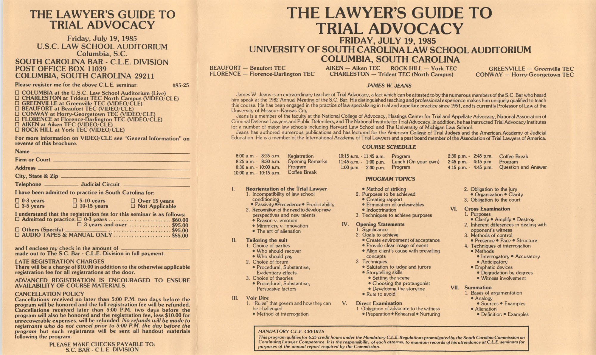 A Lawyer's Guide to Trial Advocacy, Video/CLE Seminar Pamphlet, July 19, 1985