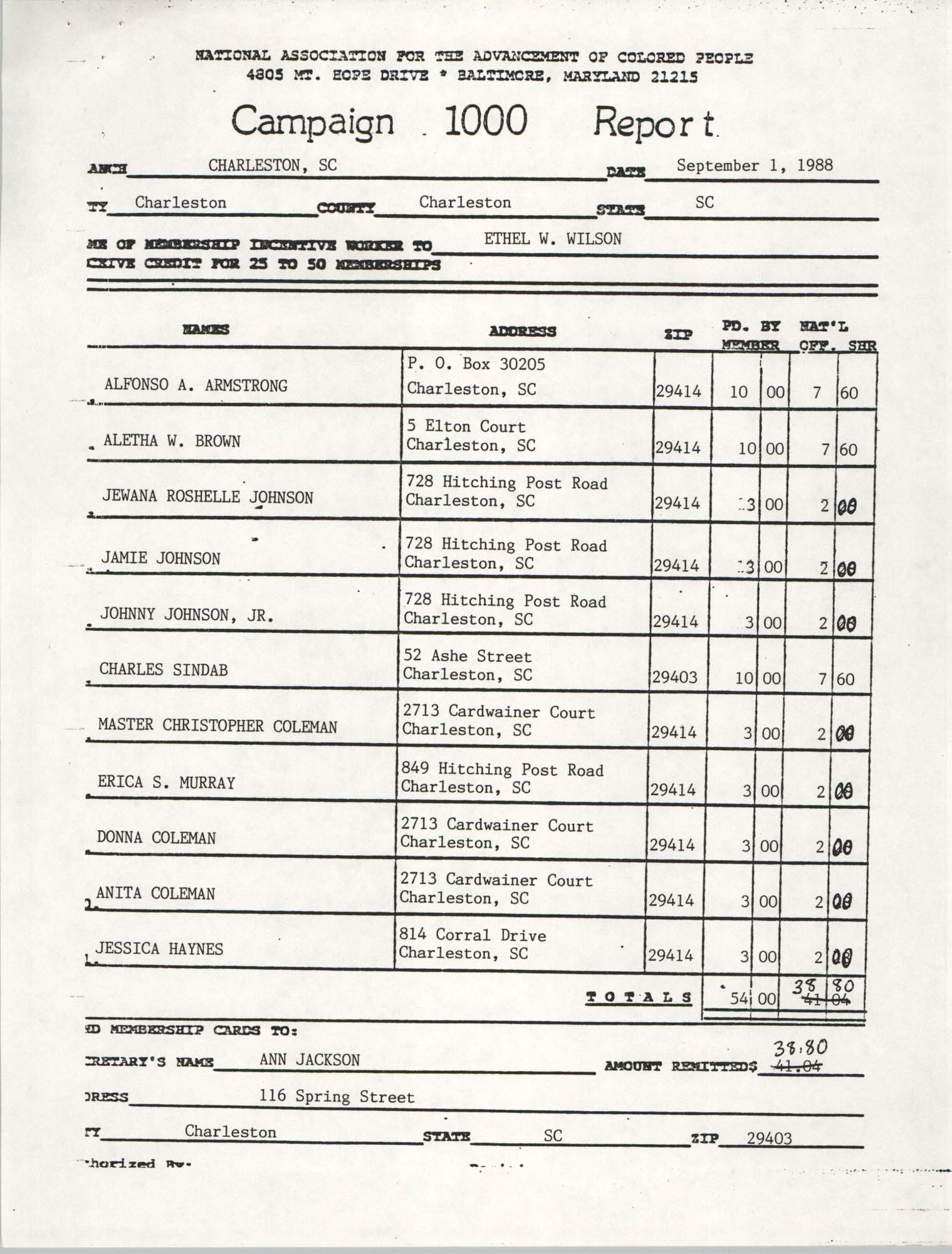 Campaign 1000 Report, Ethel W. Wilson, Charleston Branch of the NAACP, September 1, 1988