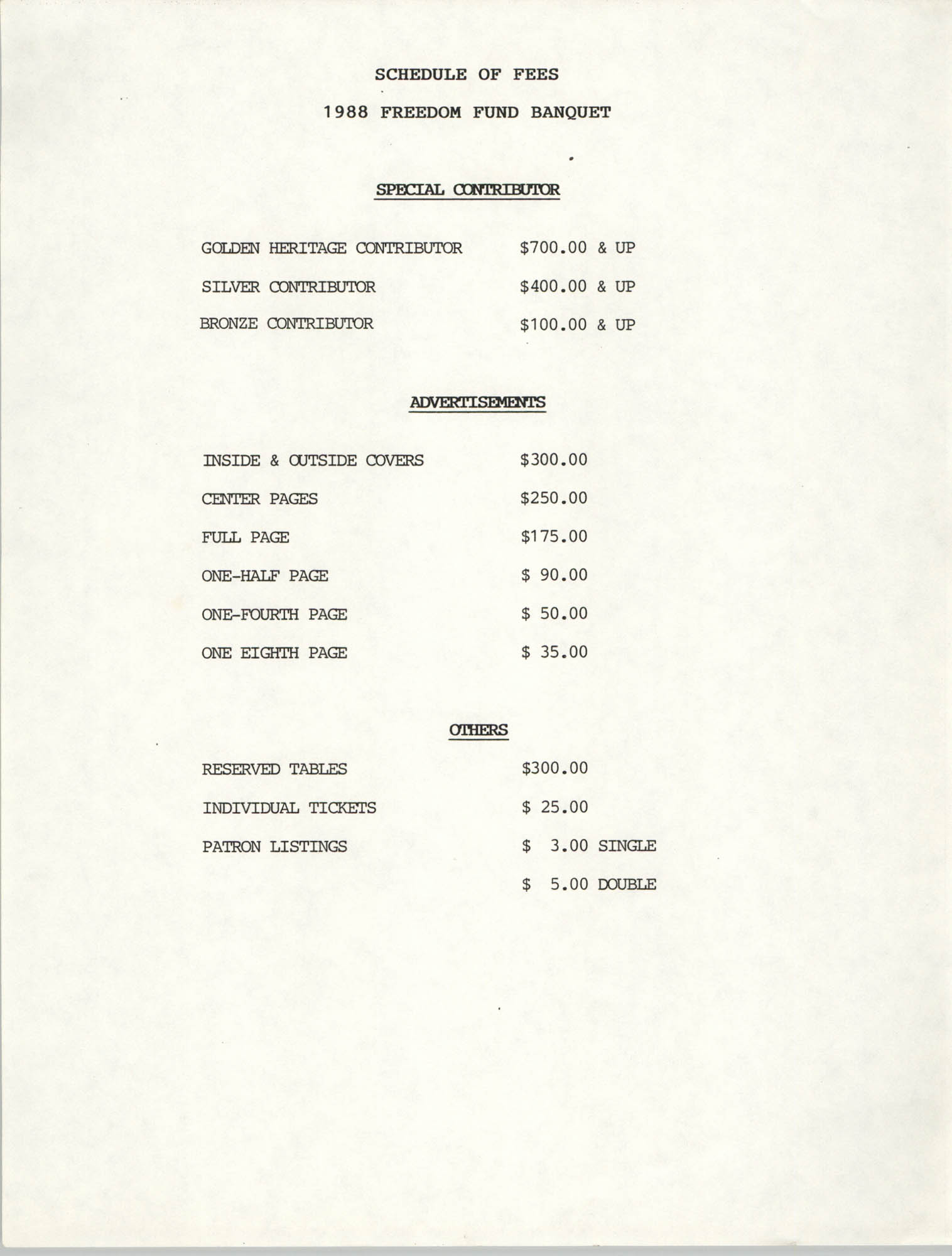 Schedule of Fees, 1988 Freedom Fund Banquet
